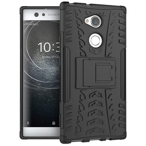 Dual Layer Rugged Tough Case & Stand for Sony Xperia XA2 Ultra - Black
